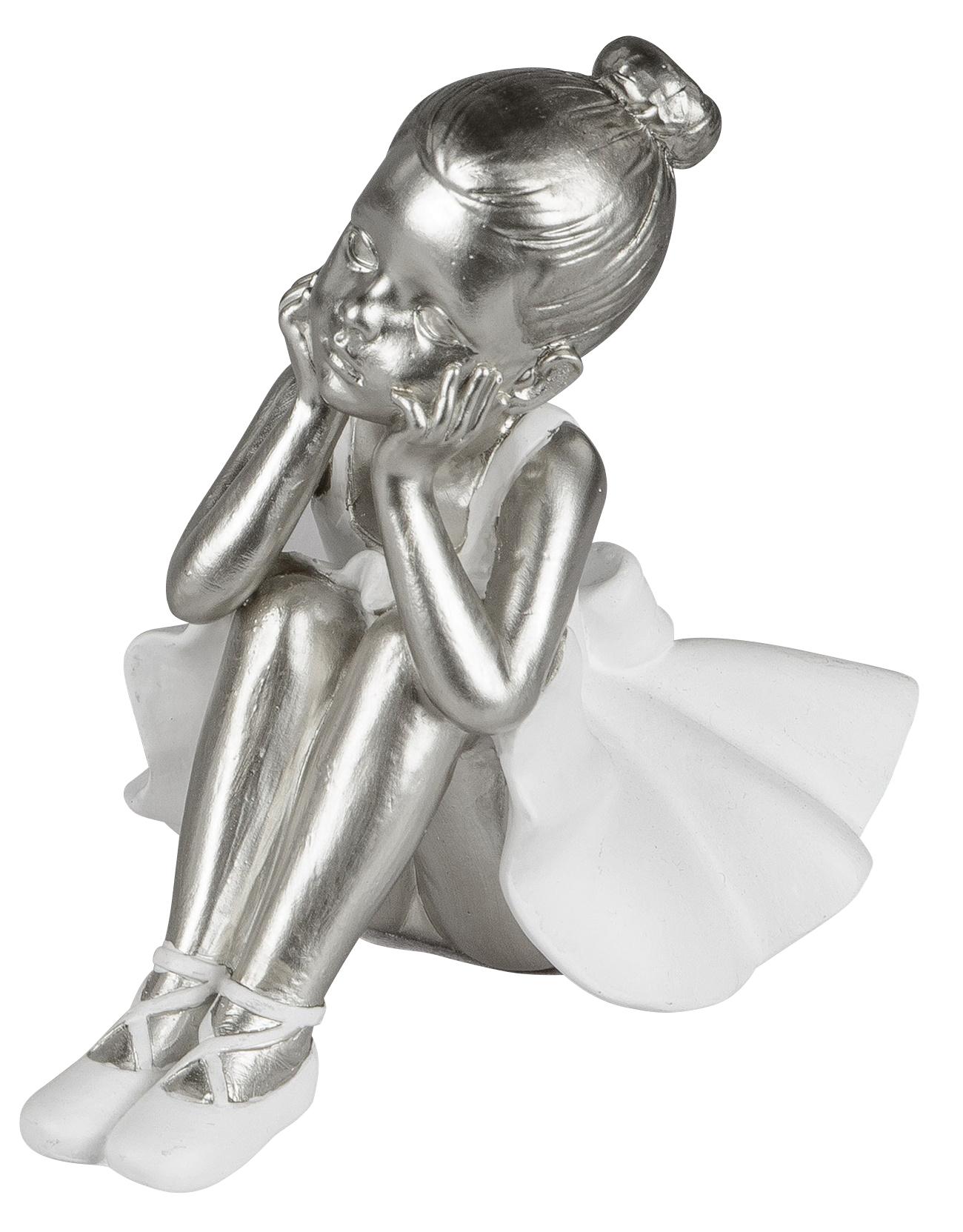 Postenmarkt Shop De Dekojohnson Moderne Dekofigur Prima Ballerina Ballett Tanzerin Ballett Miniatur Figur Abstrakte Kunst Frauen Statue Sitzend 17cm Weiss Silber